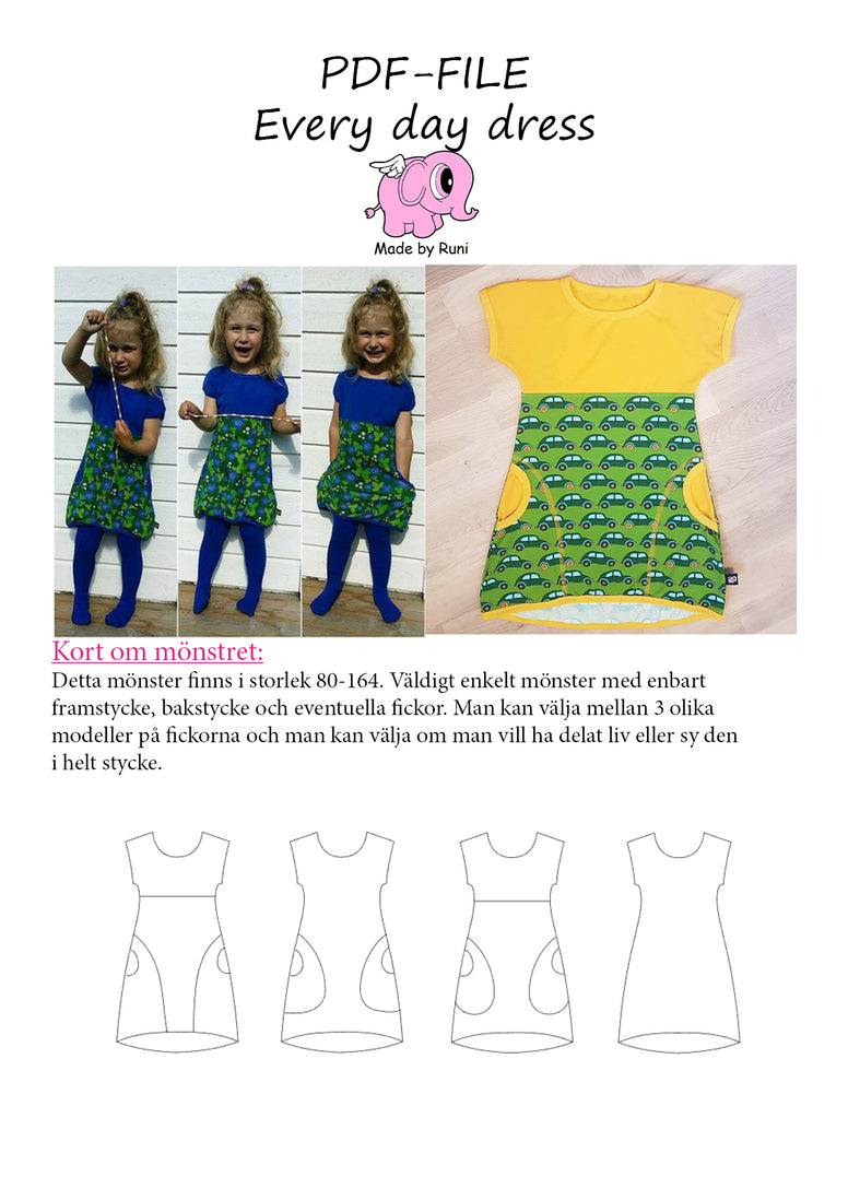 PDF-mønster/pattern: Every Day Dress child size 80-164 (US 12m-14y)