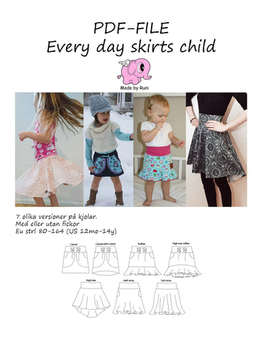 PDF-mønster/pattern: Every Day Skirts size 80-164 (US 6m-14y)