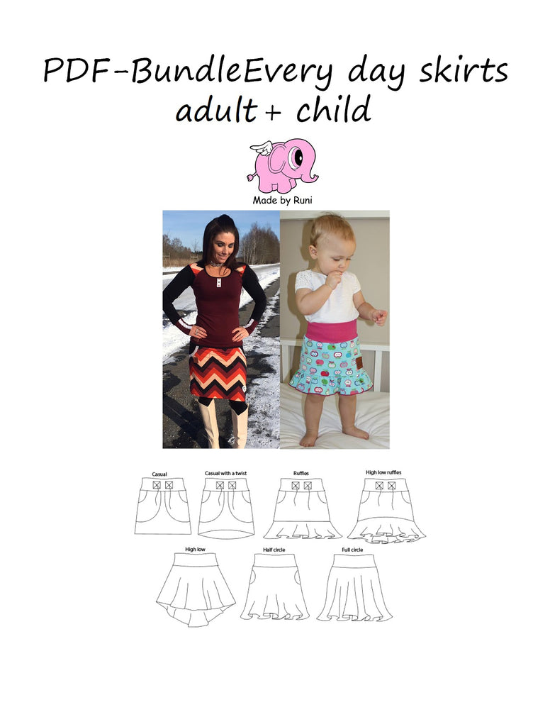 PDF-pakke/bundle: Every day skirts women + child