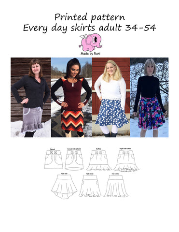 Mønsterark/printed pattern: Every Day Skirts adult size 34-54 (US 4-24)