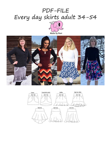 PDF-mønster/pattern: Every Day Skirts adult size 34-54 (US 4-24)