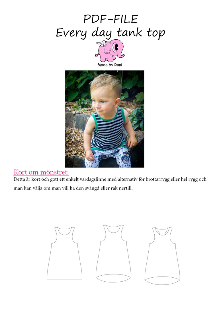 PDF-mønster/pattern: Every Day Tank Top child size 80-164 (US 12m-14y)