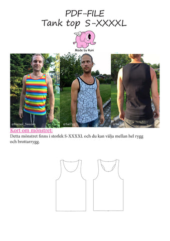 PDF-mønster/pattern: Every Day Tank Top adult straight cut size S-XXXXL