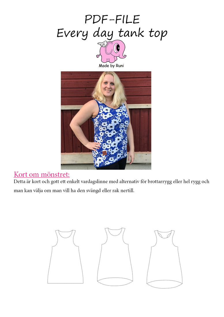 PDF-mønster/pattern: Every Day Tank Top adult fitted size 34-54 (US 4-24)