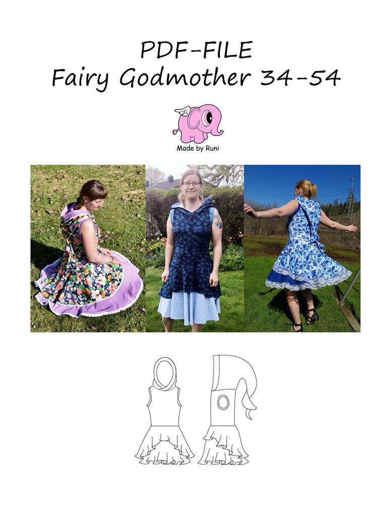 PDF-mønster/pattern: Fairy Godmother 34-54 (US 4-24)
