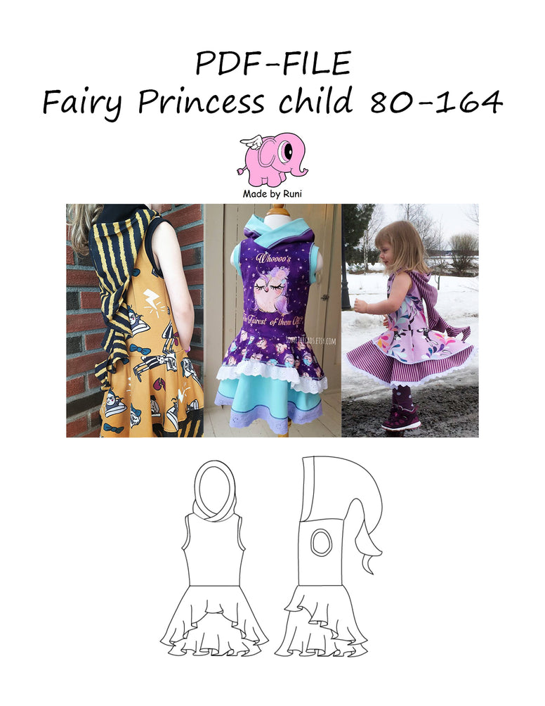 PDF-mønster/pattern: Fairy princess 80-164 (US 12m-14y)