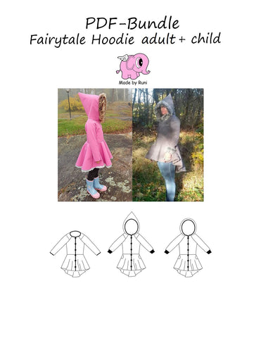 PDF-pakke/bundle: Fairytale hoodie adult + child