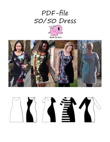 PDF-mønster/pattern: 50/50 Dress woman size 34-54 (US 4-24)