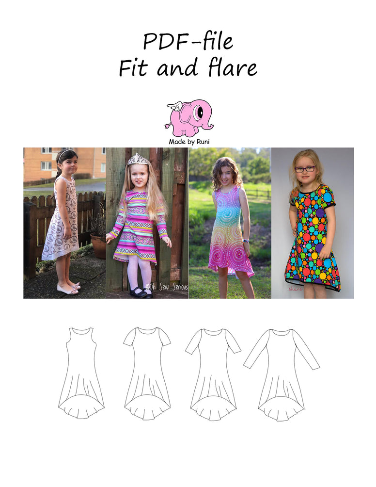 PDF-mønster/pattern: Fit and flare dress child 104-164