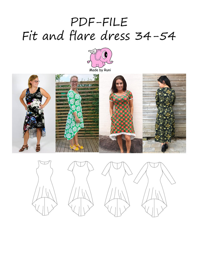 PDF-mønster/pattern: Fit and Flare dress adult 34-54