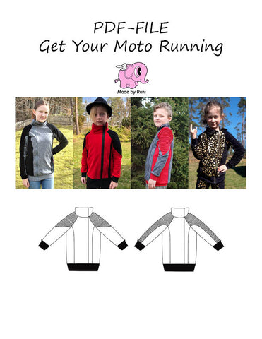 PDF-mønster/pattern: Get your moto running child size 98-164 (US 3T-14y)