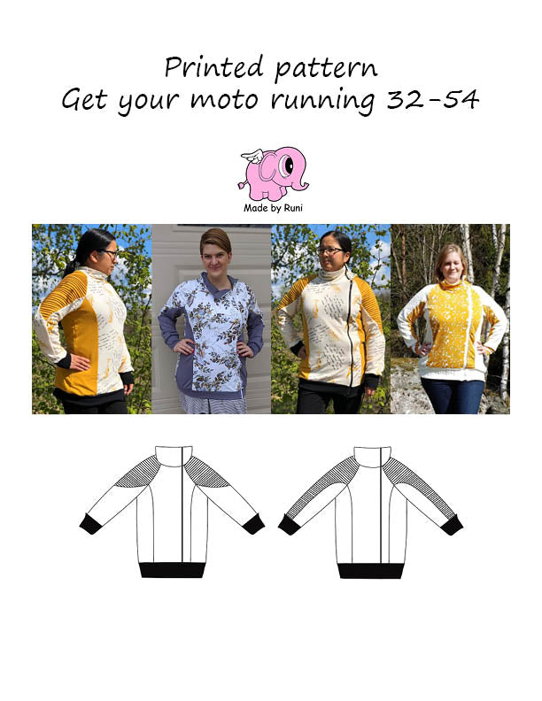 Mønsterark/printed pattern: Get your moto running adult curved fit 32-54 (US 2-24)