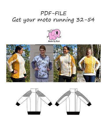PDF-mønster/pattern: Get your moto running adult curved fit 32-54 (US 2-24)