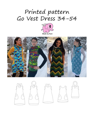 Mønsterark/Printed pattern: Go Vest Dress adult size 34-54 (US 4-24)