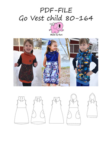 PDF-mønster/pattern: Go Vest child size 80-164 (US 12m-14y)