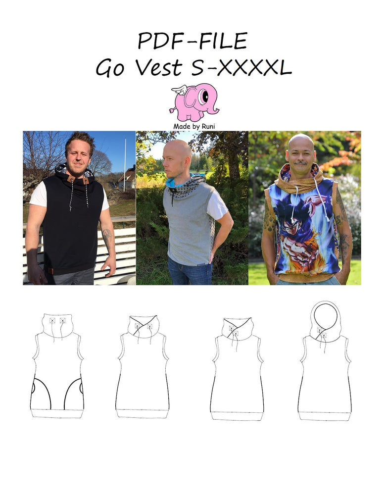 PDF-mønster/pattern: Go Vest adult straight cut size S-XXXXL