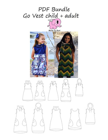 PDF-pakke/bundle: Go Vest child +Go Vest dress adult
