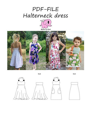 PDF-mønster/pattern: Halterneck dress child size 80-164 (US 12m-14y)