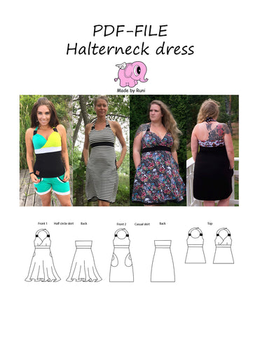 PDF-mønster/pattern: Halterneck dress woman size 34-58 (US 4-28)