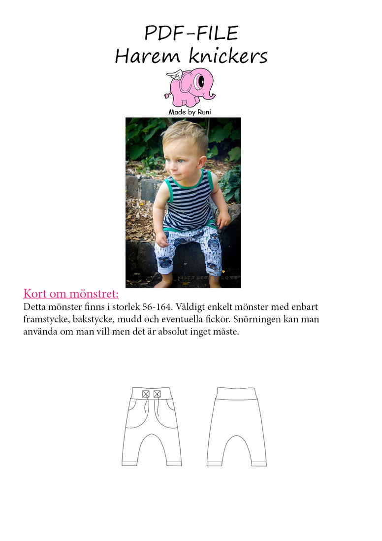 PDF-mønster/pattern: Harem knickers children size 56-164 (US newborn-14y)