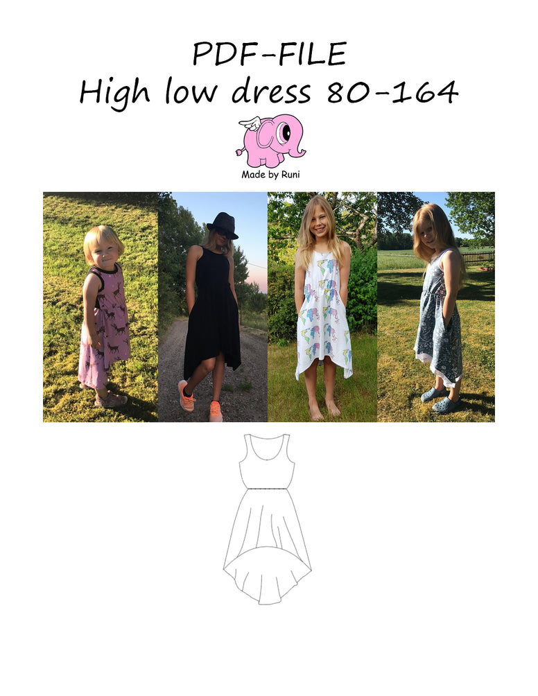 PDF-mønster/pattern: High Low Dress child size 80-164 (US 12 months - 14 years)