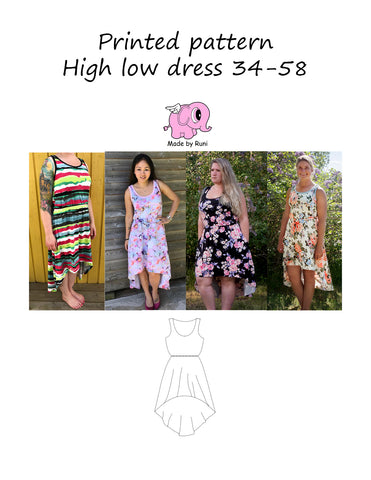 Mønsterark/Printed pattern: High Low Dress size 34-58 (US 2-28)