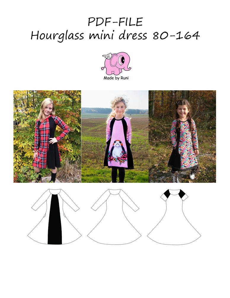 PDF-mønster/pattern: Hourglass mini dress 80-164 (US 12mo-14y)