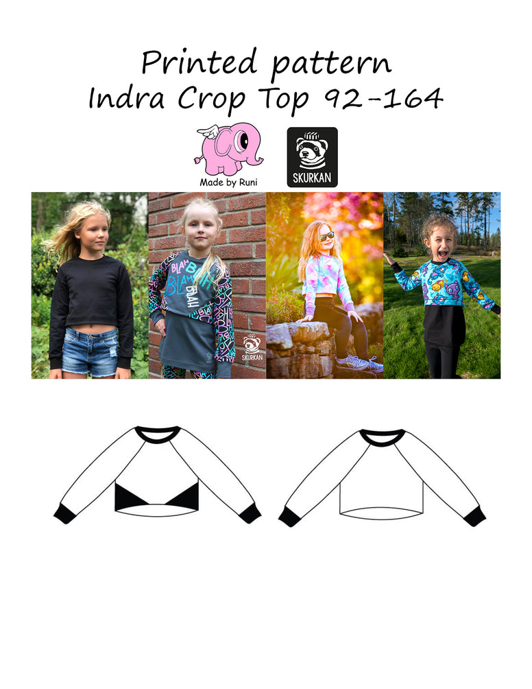 Mønsterark/printed pattern: Indra Crop Top 92-164 (US 2T-14y)