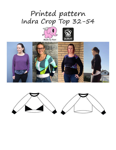 Mønsterark/printed pattern: Indra Crop Top adult 32-54 (US 2-24)