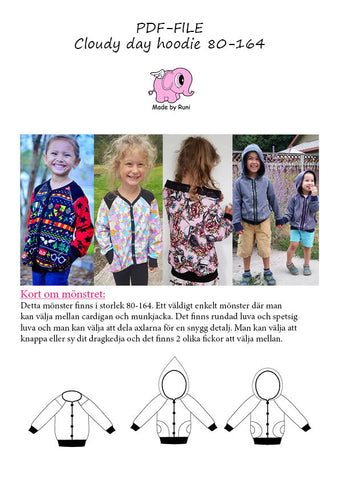 PDF-mønster/pattern: Cloudy Day Hoodie child size 80-164 (US 12m-14y)
