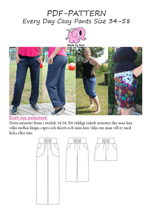 PDF-mønster/pattern: Every Day Cozy Pants adult fitted size 34-58 (US 4-28)