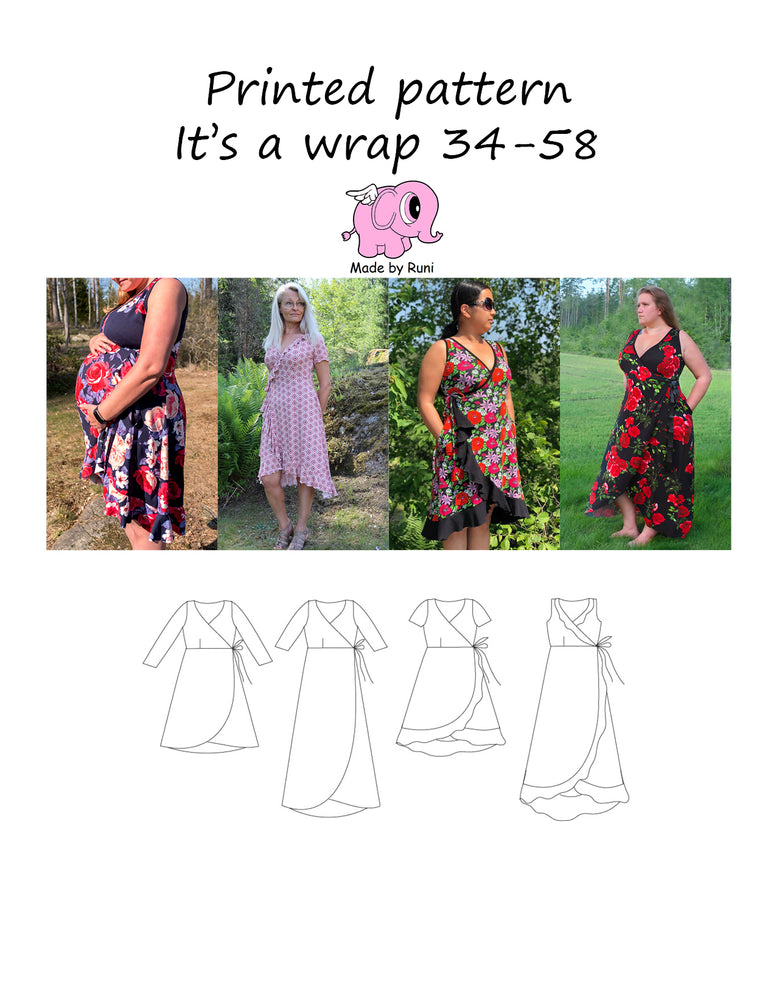 Mønsterark/printed pattern: It's a wrap 34-58 (US 4-28)