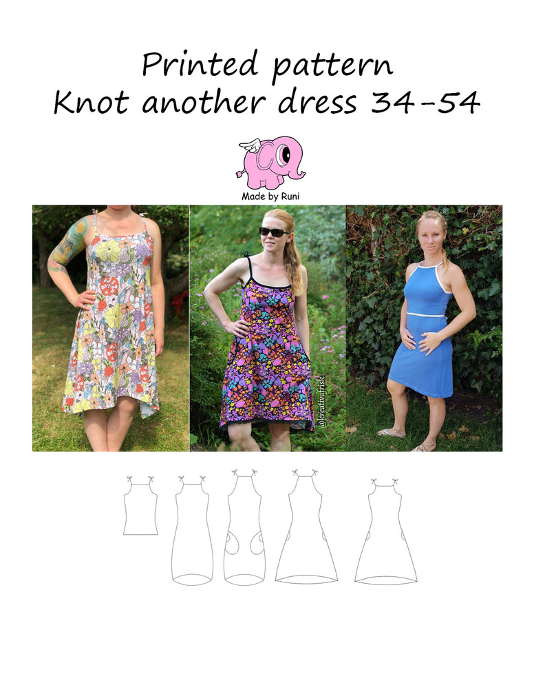 Mønsterark/printed pattern: Knot another dress woman size 34-54 (US 4-24)