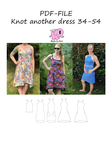 PDF-mønster/pattern: Knot another dress adult size 34-54 (US 4-24)
