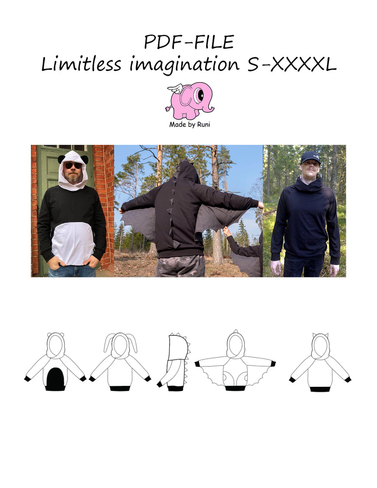 PDF-mønster/pattern: Limitless imagination adult straight cut size S-XXXXL
