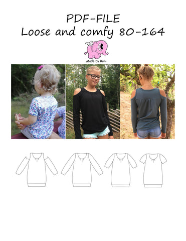 PDF-mønster/pattern: Loose and comfy size 80-164 (US 12m-14y)
