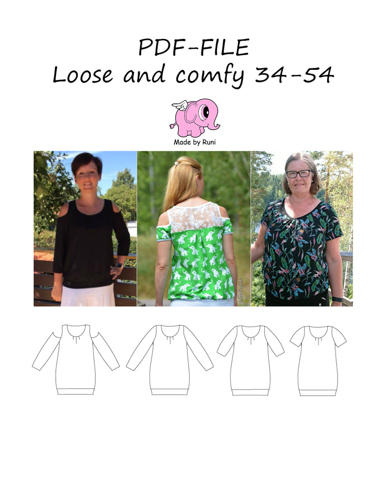 PDF-mønster/pattern: Loose and comfy size 34-54 (US 4-24)