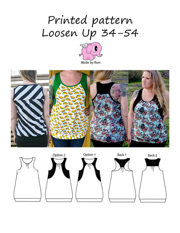Mønsterark/Printed pattern: Loosen up size 34-54 (US 4-24)
