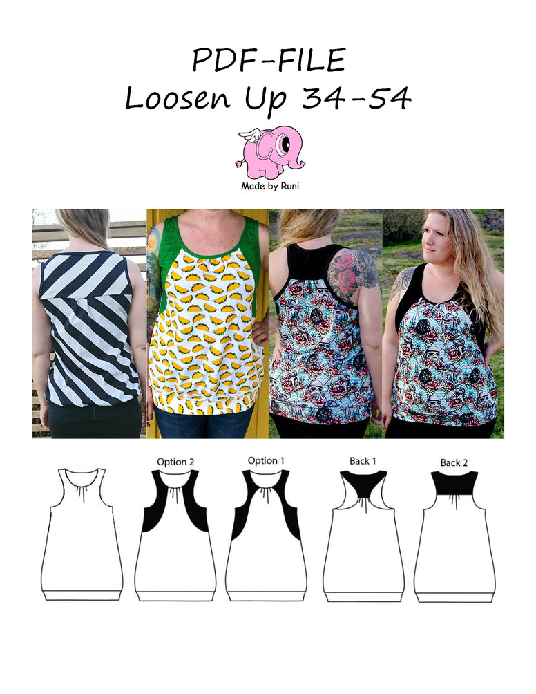 PDF-mønster/pattern: Loosen up size 34-54 (US 4-24)