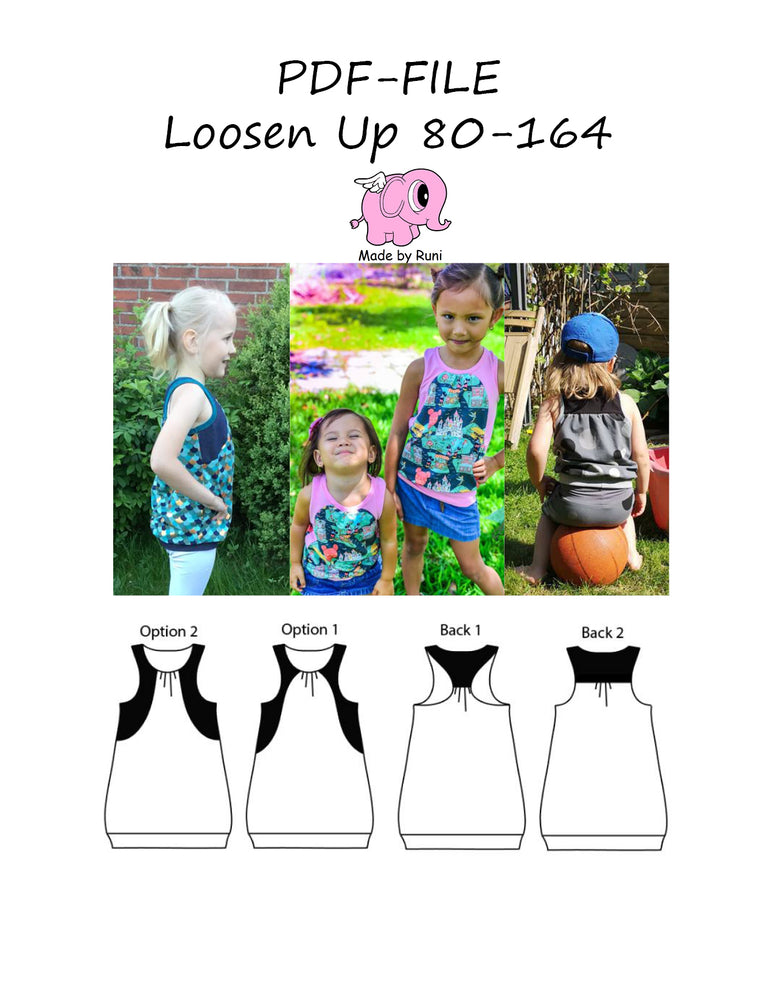 PDF-mønster/pattern: Loosen up size 80-164 (US 12 mo-14y)