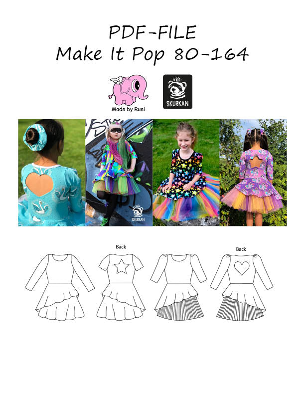 PDF-mønster/pattern: Make it pop 80-164 (US 12m-14y)