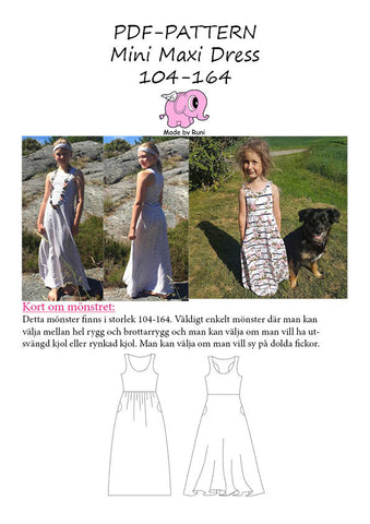 PDF-mønster/pattern: Mini Maxi Dress child size 104-164 (US 4y-14y)