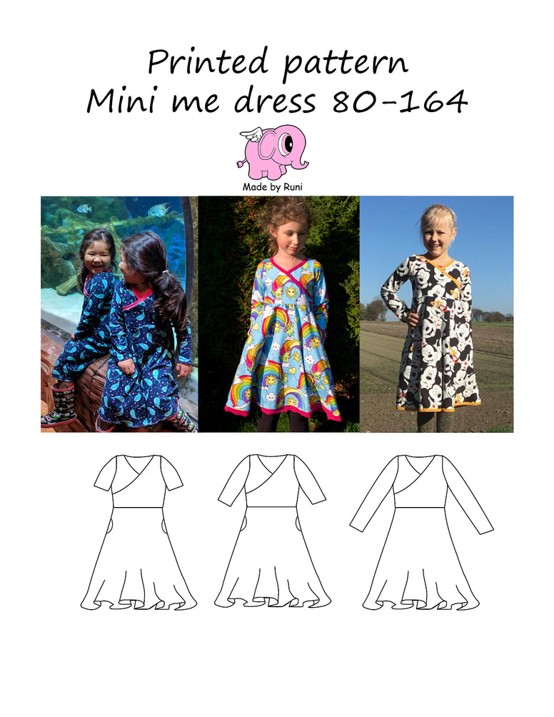 Mønsterark/printed pattern: Mini me dress 80-164 (US 12mo-14y)