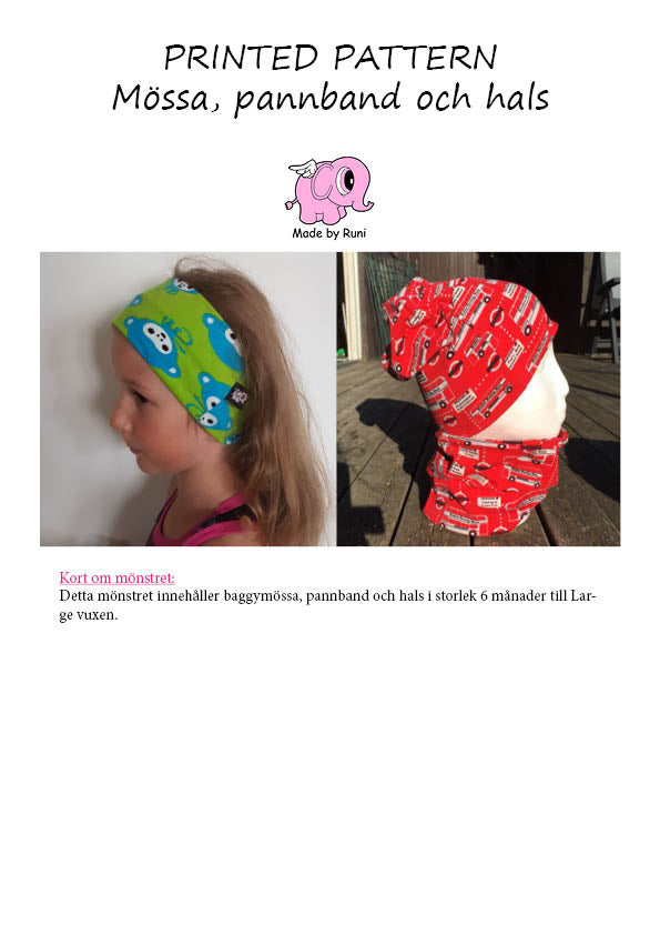 Mønsterark/printed pattern: Mössa/lue, Pannband & Buff (Baggy hat, Headband & Neck cowl) 6m-adult