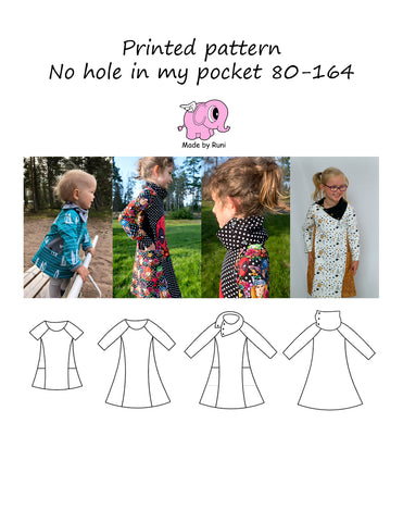 Mønsterark/printed pattern: No hole in my pocket 80-164 (US 12m-14y)