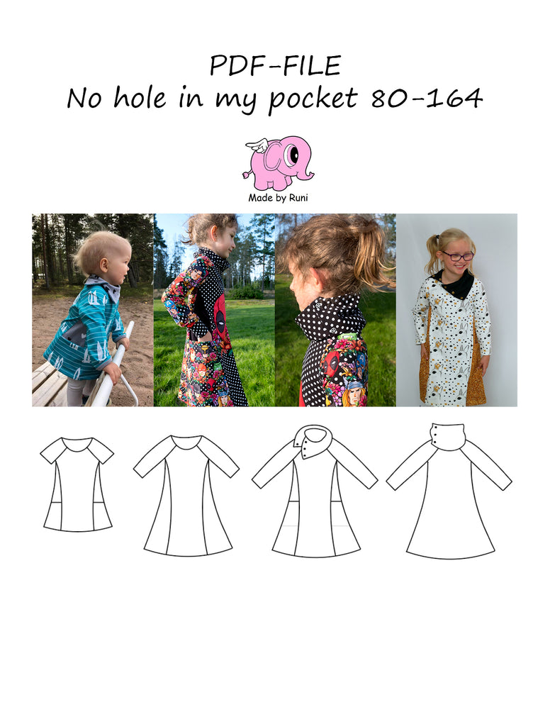 PDF-mønster/pattern: No hole in my pocket 80-164 (US 12m-14y)