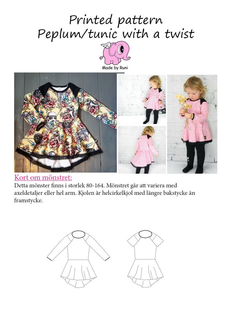 Mønsterark/Printed Peplum tunic with a twist child size 80-164 (US 12m-14y)