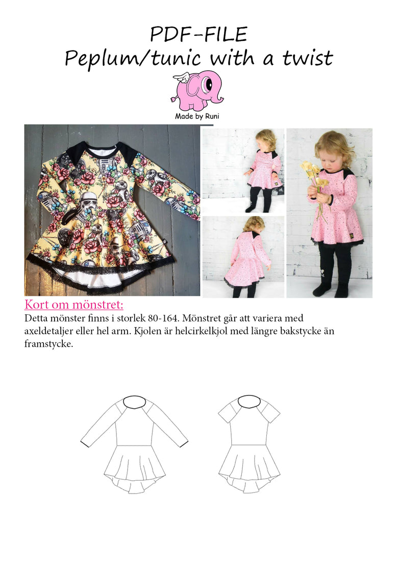 PDF-mønster/pattern: Peplum Tunic With a Twist child size 80-164 (US 12m-14y)