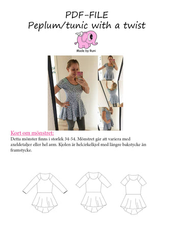 PDF-mønster/pattern: Peplum Tunic With a Twist adult size 34-54 (US 4-24)