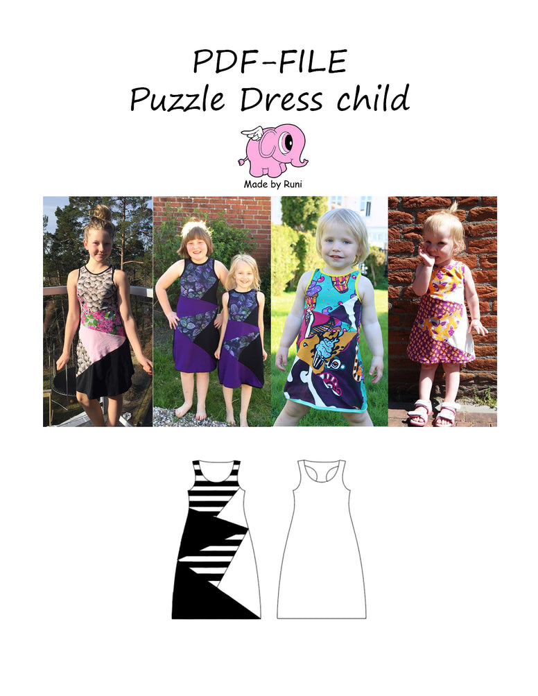PDF-mønster/pattern: Puzzle Dress child size 80-164 (US 12 months - 14 years)